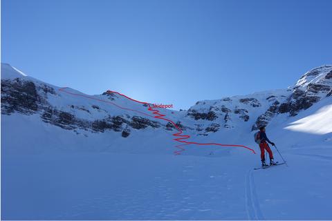 Mieserenstock, Skitour, Couloir, Gipfel, Routenwahl, Studen, Schwyz, Schweiz, Touren Zentralschweiz