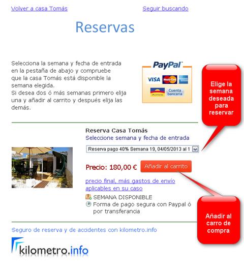 Reservar la casa de vacaciones con tarjeta de crédito