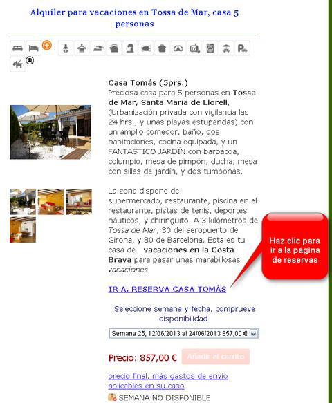 Ir a reserva de la casa de vacaciones en Costa Brava