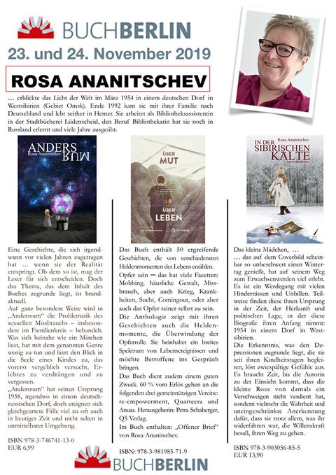 Flyer für BuchBerlin 2019 mit Büchern von Rosa Ananitschev