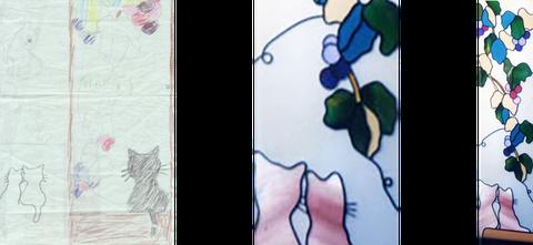 奥様のデザインがステンドグラスのイメージ