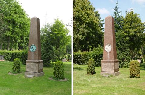 Die Gedenkstätte vor (links) und nach (rechts) der Schändung