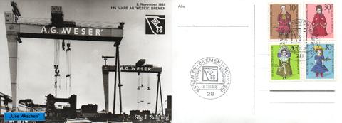 Sonderansichtskarte mit Jubiläumsstempel, Stadthalle Bremen
