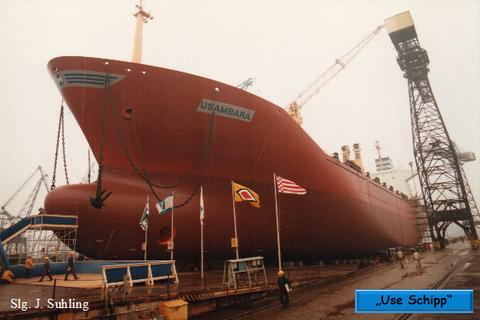 """""""Use Schipp"""" Anfang 1983, das vorletzte Schiff kuz vorm Stapellauf."""