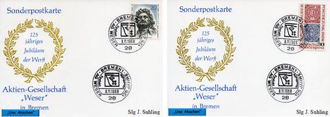 2 Sonderpostkarten mit Jubiläumsstempel, Stadthalle Bremen