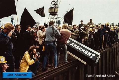 Nach dem letzten Stapellauf, wurde am 6.10.1983 die Werft von den Werftarbeitern zu Grabe getragen!