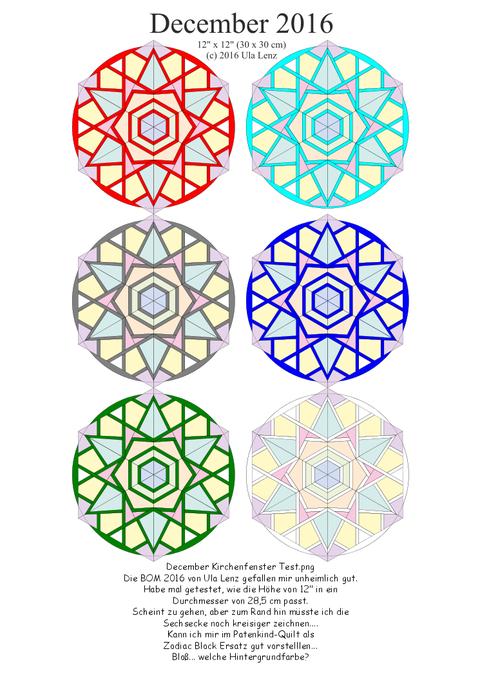 Kirchenfenster Test Sechsecke statt Zodiac Sternzeichen...