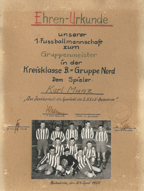 hinten v. links: Gerhard Knappe, Horst Knappe, Karl Heinz Kempf, Karlheinz Tröller, Karl Munz, Mitte: Heinz Major, Gerhard Hörig, Ludwig Södler, vorn: Wolfgang Bilkenroth, Herbert Pokral, Karl Rühl