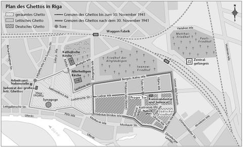 Plan des Rigaer Ghettos, Situation nach dem Massenmord vom 8. Dezember 1941