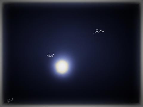 Mond und Jupiter stehen in Konjunktion (29. Juni 2021 gegen 4.3o Uhr)