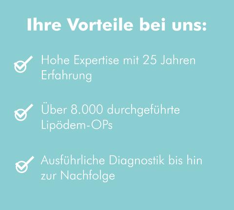 Ihre Vorteile, wenn Sie im MVZ Praxis Dr. Cornely Düsseldorf das Lipödem behandeln.