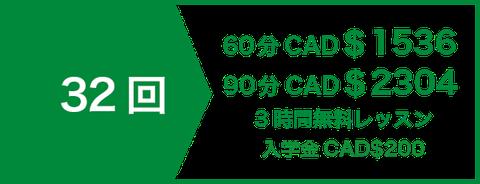 英会話 プライベート(マンツーマン)レッスン32回 CAD$1120   5時間無料レッスン   入学金CAD$200