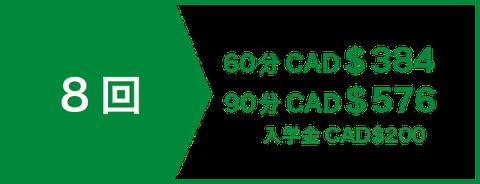 英会話プライベート(マンツーマン)レッスン8回 CAD$280   入学金CAD$200