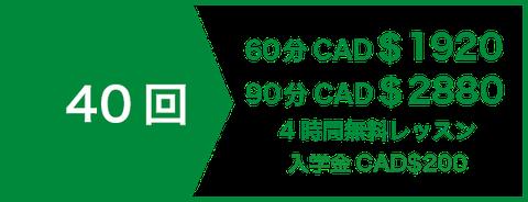 プライベート(マンツーマン)レッスン24回 CAD$1008 | 4時間無料レッスン | 入学金CAD$200
