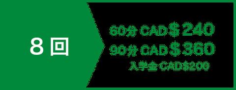 英会話 セミプライベートレッスン24回 CAD$168 | 入学金CAD$200