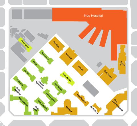Heutiger Plan des Recinte und des Hospitals Santa Creu - grün im weißen Feld: die begehbaren (Ursprungs-)Teile des Recinte, gelb: (noch) nicht zu besichtigen (Esglesia= die alte Kirche), rot: das moderne Krankenhaus (Bild: amadalvarez/ wiki).