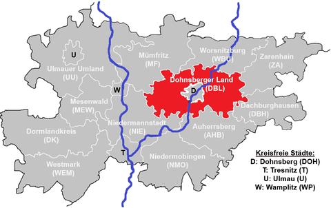 Landkreise des Freistaats Mobingen, Dohnsberger Land in rot hervorgehoben