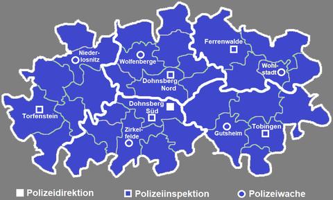 Polizeidienststellen im Landkreis, die dunkelblauen Linien markieren das jeweilige Zuständigkeitsgebiet eines Reviers (gilt nicht für die Autobahnpolizei)
