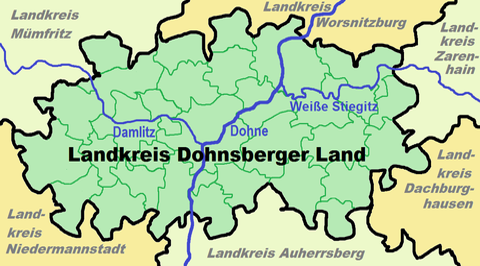 Karte der Flüsse (Dohne, Damlitz und Weiße Stiegitz) sowie angrenzender Lnadkreise (Mümfritz, Worsnitzburg, Zarenhain, Auherrsberg und Niedermannstadt)