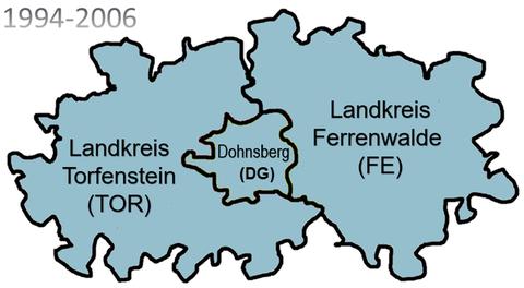 Landkreise von 1994 bis zur Gebietsreform 2006
