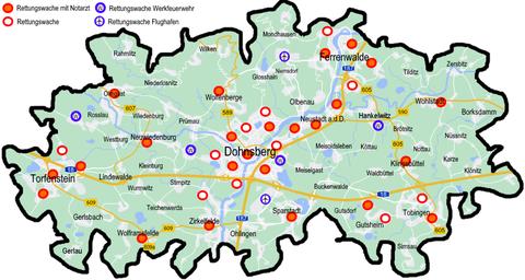 Verteilung von Rettungswachen und Außenstellen des Rettungsdienstes im Landkreis Dohnsberger Land