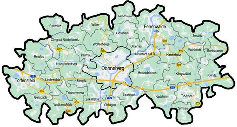 Karte der Städte und Gemeinden des Landkreises Dohnsberger Land