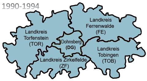 Landkreise von 1990 bis zur Gebietsreform 1994