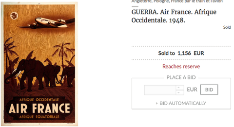 Air France - Afrique occidentale - Guerra - Vintage Airline Travel Poster