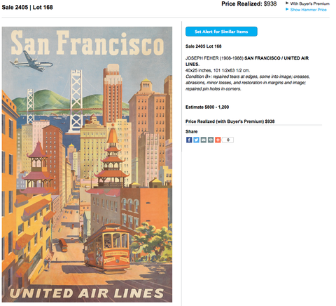 United Air Lines - San Francisco - Joseph Feher - Original Vintage Airline Poster