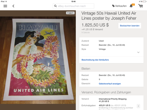 United Air Lines - Hawaii - Feher - Original Vintage Poster