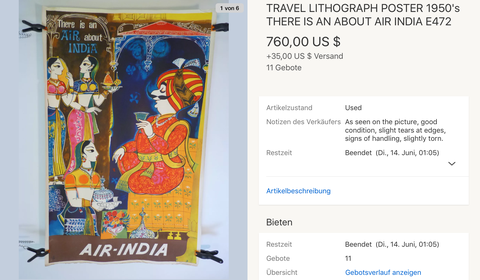 Air India - Original Vintage Airline Poster