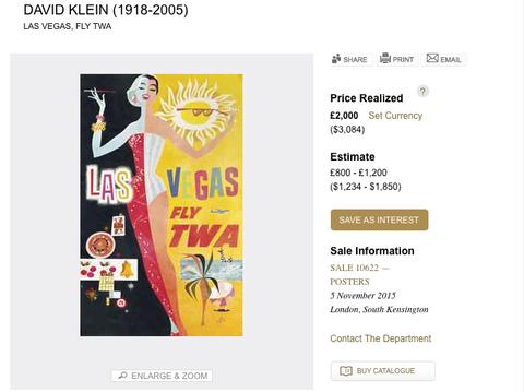 TWA - Las Vegas - David Klein - Original Vintage Poster