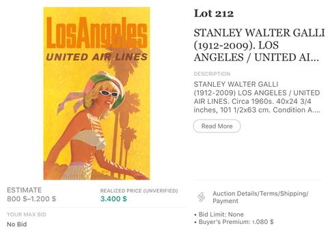 United Air Lines - Los Angeles - Stan Galli - Original Vintage Airline Poster 1960s