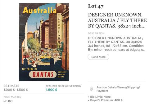 Qantas - Australia - Original Vintage Airline Poster 1950s