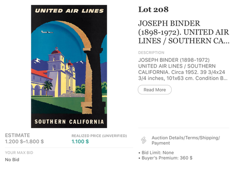 United Air Lines - Southern California - Joseph Binder - Original Vintage Airline Poster 1957