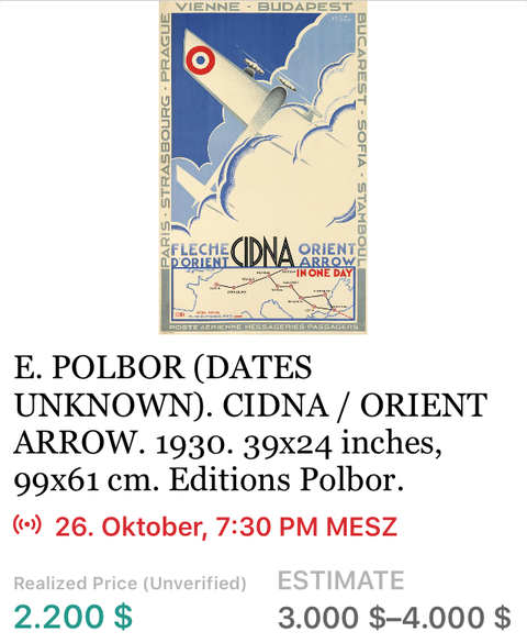 CIDNA - Fleche D'Orient - Polbor - Original Vintage Airline Poster