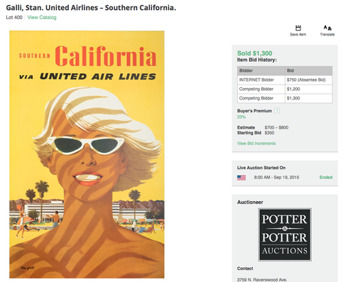 United Air Lines - Southern California - Stan Galli - Original Vintage Poster