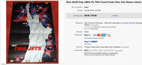 TWA Jets - Statue of Liberty - David Klein - Original Vintage Airline Poster