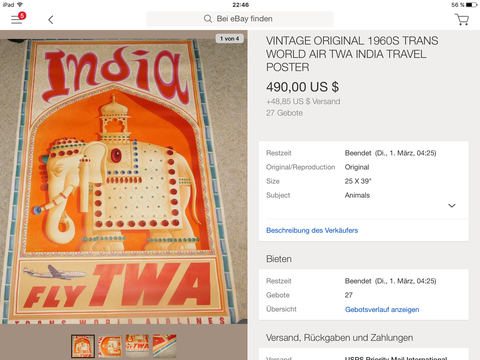 TWA - India - David Klein - Original Vintage Airline Poster