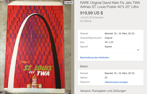 TWA - St. Louis - David Klein - Original Vintage Airline Poster