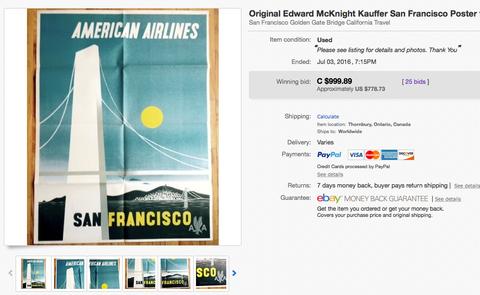 American Airlines - San Francisco - McKnight Kauffer - Original Vintage Airline Poster