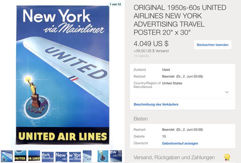 United Air Lines - New York via Mainliner - Original Vintage Poster