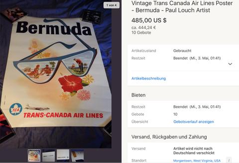 TCA - Bermuda - Paul Louch - Original Vintage Airline Poster
