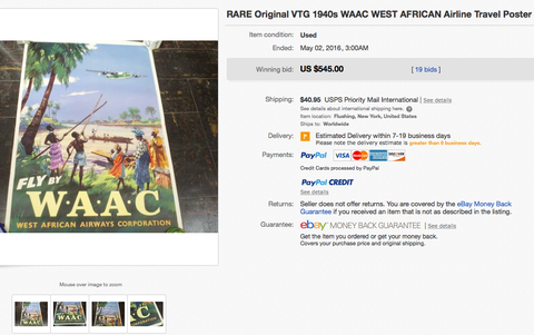 Fly by WAAC - West African Airways Corporation - Original Vintage Airline Poster