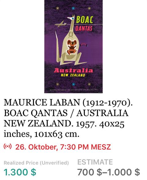 BOAC QANTAS - Australia - Laban - Original Vintage Airline Poster