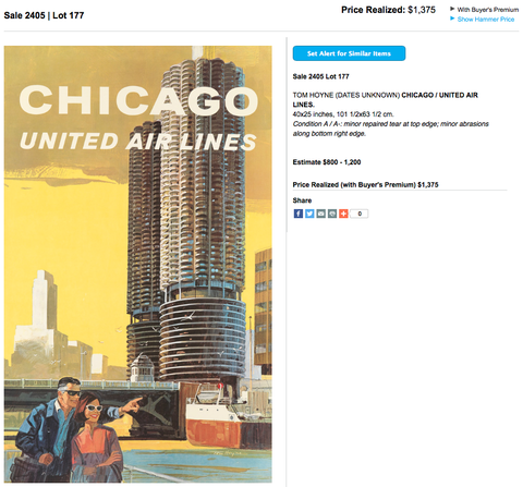 United Air Lines - Chicago - Tom Hoyne - Original Vintage Airline Poster