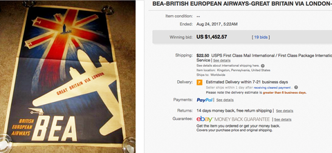 BEA - Great Britain via London - Original vintage airline poster