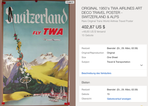 TWA - Switzerland - Original Vintage Airline Poster