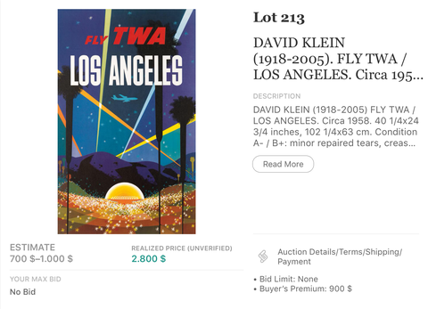 TWA - Los Angeles (Jet Version) - David Klein - Original Vintage Airline Poster 1960s