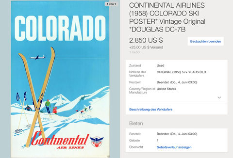 Continental Air Lines - Colorado - Original Vintage Poster